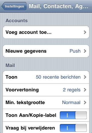 iPhone Voeg account toe